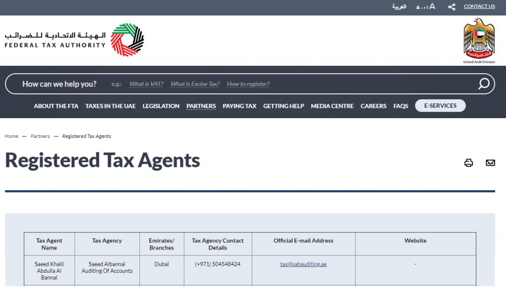 Tax Agent in UAE - Tax Agent Dubai - FTA Tax agent