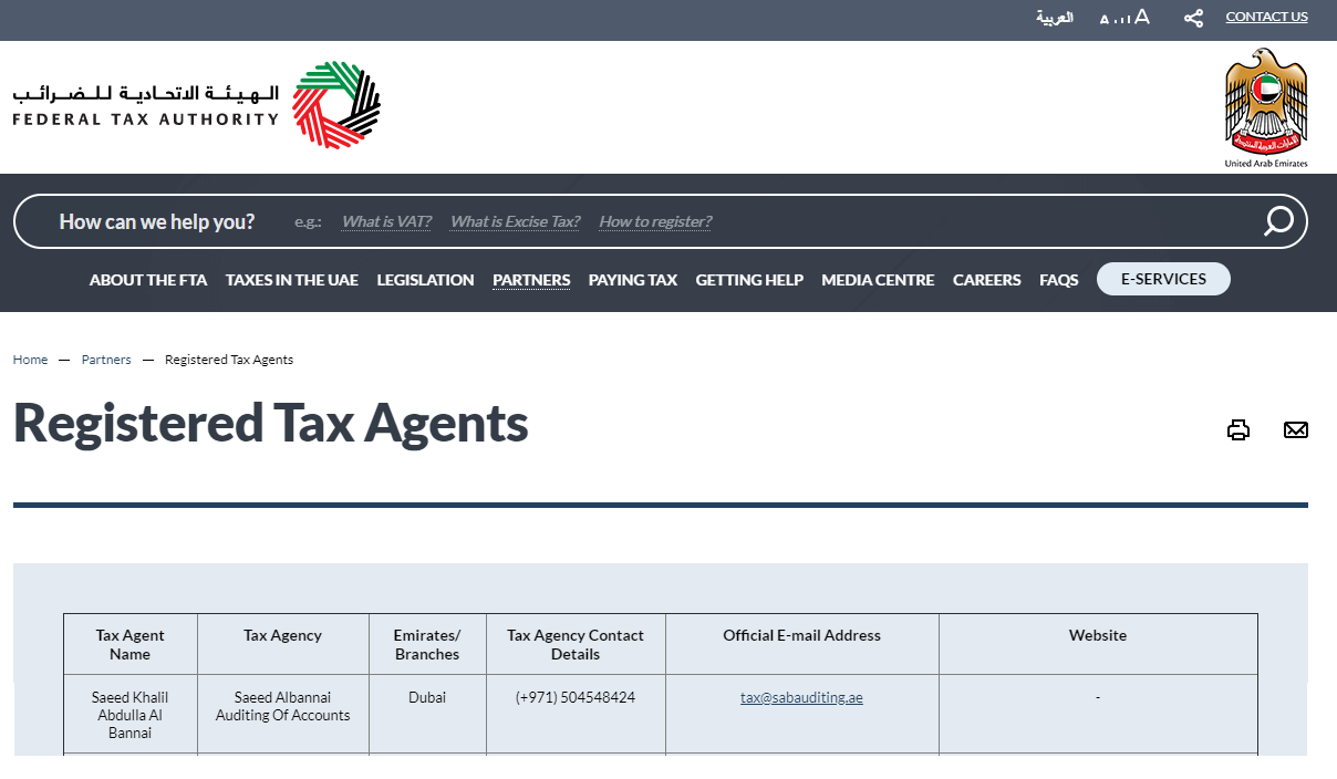 Registered Tax Agents in UAE | FTA Tax Agent in Dubai